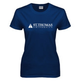 Ladies Navy T Shirt-University Mark