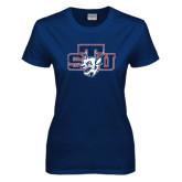 Ladies Navy T Shirt-STU w/ Bobcat Head Distressed