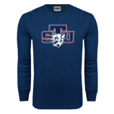 Navy Long Sleeve T Shirt-STU w/ Bobcat Head