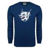 Navy Long Sleeve T Shirt-Bobcat Head