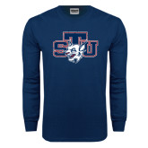 Navy Long Sleeve T Shirt-STU w/ Bobcat Head Distressed