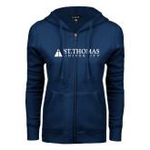 ENZA Ladies Navy Fleece Full Zip Hoodie-University Mark