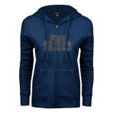 ENZA Ladies Navy Fleece Full Zip Hoodie-STU Glitter