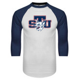White/Navy Raglan Baseball T-Shirt-STU w/ Bobcat Head