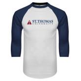 White/Navy Raglan Baseball T-Shirt-University Mark