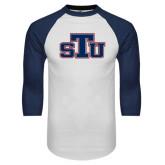 White/Navy Raglan Baseball T-Shirt-STU