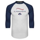 White/Navy Raglan Baseball T-Shirt-Baseball Seams Design