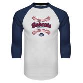 White/Navy Raglan Baseball T-Shirt-Softball Seams Designs