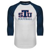 White/Navy Raglan Baseball T Shirt-Football