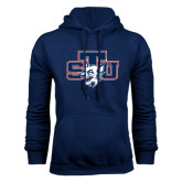 Navy Fleece Hoodie-STU w/ Bobcat Head