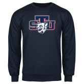 Navy Fleece Crew-STU w/ Bobcat Head
