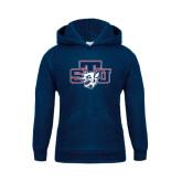 Youth Navy Fleece Hoodie-STU w/ Bobcat Head