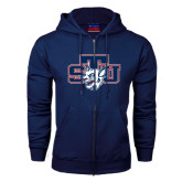 Navy Fleece Full Zip Hoodie-STU w/ Bobcat Head