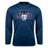 Performance Navy Longsleeve Shirt-STU w/ Bobcat Head