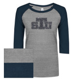 ENZA Ladies Athletic Heather/Navy Vintage Triblend Baseball Tee-STU Glitter
