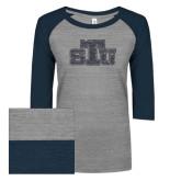 ENZA Ladies Athletic Heather/Navy Vintage Triblend Baseball Tee-STU Glitter