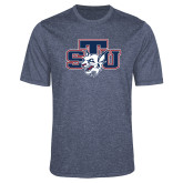 Performance Navy Heather Contender Tee-STU w/ Bobcat Head