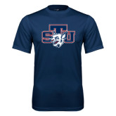 Syntrel Performance Navy Tee-STU w/ Bobcat Head
