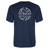 Performance Navy Tee-Basketball Ball Design