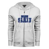 ENZA Ladies White Fleece Full Zip Hoodie-STU Glitter