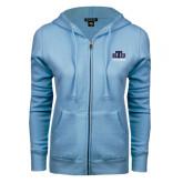 ENZA Ladies Light Blue Fleece Full Zip Hoodie-Official Logo