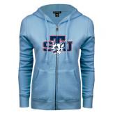 ENZA Ladies Light Blue Fleece Full Zip Hoodie-STU w/ Bobcat Head