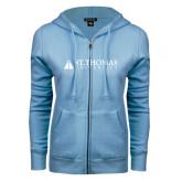 ENZA Ladies Light Blue Fleece Full Zip Hoodie-University Mark