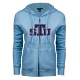 ENZA Ladies Light Blue Fleece Full Zip Hoodie-STU