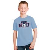 Youth Light Blue T Shirt-STU w/ Bobcat Head