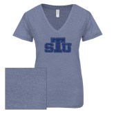 ENZA Ladies Surfer Blue Melange V Neck Tee-STU Glitter