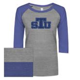 ENZA Ladies Athletic Heather/Blue Vintage Baseball Tee-STU Glitter