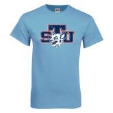 Light Blue T-Shirt-STU w/ Bobcat Head Distressed