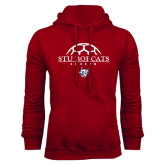 Cardinal Fleece Hoodie-Soccer Half Ball Design