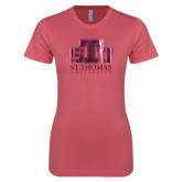 Next Level Ladies SoftStyle Junior Fitted Pink Tee-Official Logo Foil