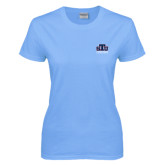 Ladies Sky Blue T-Shirt-Official Logo