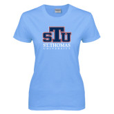 Ladies Sky Blue T Shirt-Official Logo