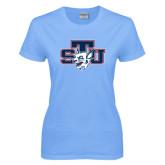 Ladies Sky Blue T Shirt-STU w/ Bobcat Head