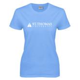 Ladies Sky Blue T-Shirt-University Mark