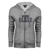 ENZA Ladies Grey Fleece Full Zip Hoodie-STU Glitter