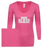 ENZA Ladies Hot Pink Long Sleeve V Neck Tee-STU Glitter