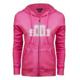 ENZA Ladies Fuchsia Fleece Full Zip Hoodie-STU Glitter