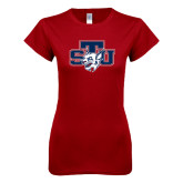 Next Level Ladies SoftStyle Junior Fitted Cardinal Tee-STU w/ Bobcat Head