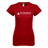Next Level Ladies SoftStyle Junior Fitted Cardinal Tee-University Mark