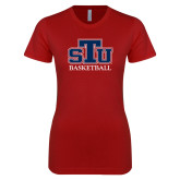 Next Level Ladies SoftStyle Junior Fitted Cardinal Tee-Basketball
