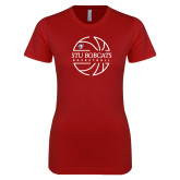 Next Level Ladies SoftStyle Junior Fitted Cardinal Tee-Basketball Ball Design