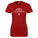 Next Level Ladies SoftStyle Junior Fitted Cardinal Tee-Soccer Half Ball Design