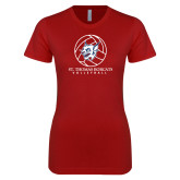 Next Level Ladies SoftStyle Junior Fitted Cardinal Tee-Volleyball Ball Design