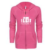 ENZA Ladies Hot Pink Light Weight Fleece Full Zip Hoodie-Official Logo