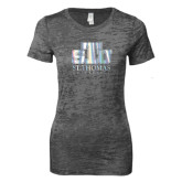 Next Level Ladies Junior Fit Dark Grey Burnout Tee-Official Logo Foil