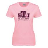 Ladies Pink T-Shirt-Official Logo Foil